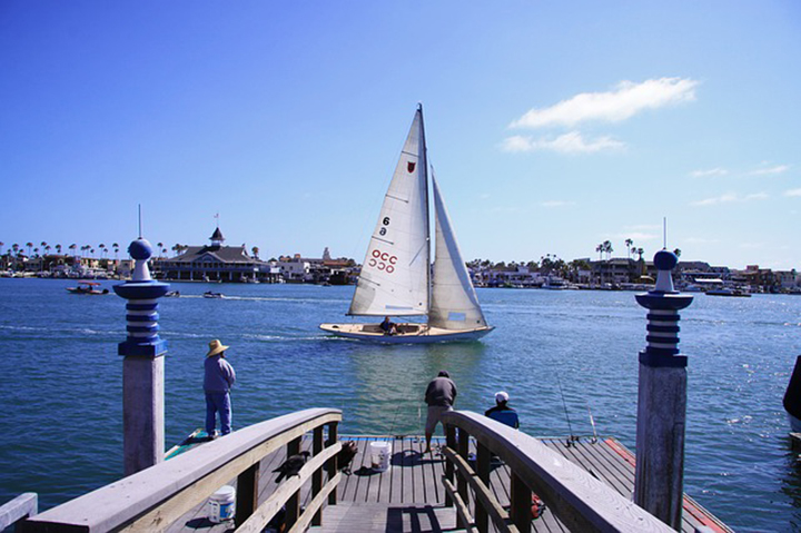 A sailboat in the water in Newport Beach.