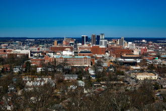 A shot of the city of Birmingham, Alabama.