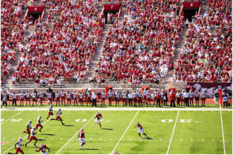 A football game on a football field.
