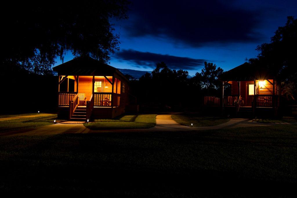 A night shot of Quail Creek Plantation.