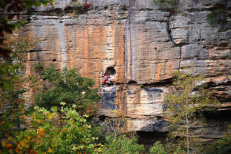The side view of rocks or a mountain, the Red River Gorge.
