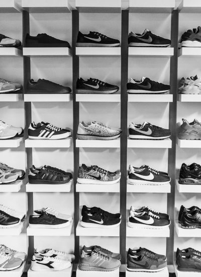 A wall of sneakers.