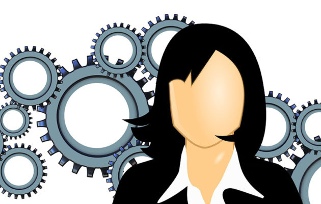 An illustration of a woman in a business suit.